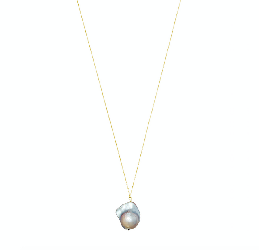 Gray Baroque Pearl Necklace with Gold Chain