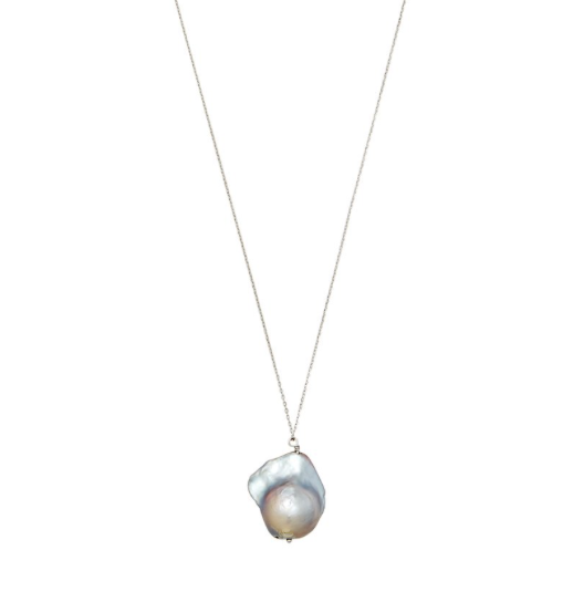 Gray Baroque Pearl Necklace with Silver Chain