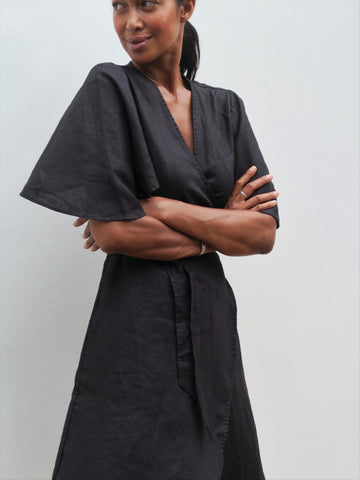 Ayla Linen Dress in Black