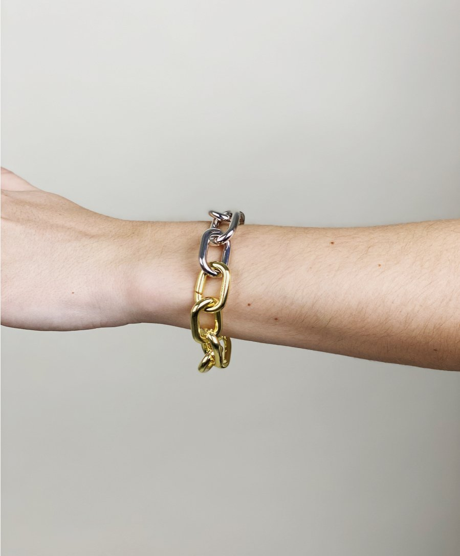 Interchangeable Statement Link Bracelet in Gold + Rose Gold Split