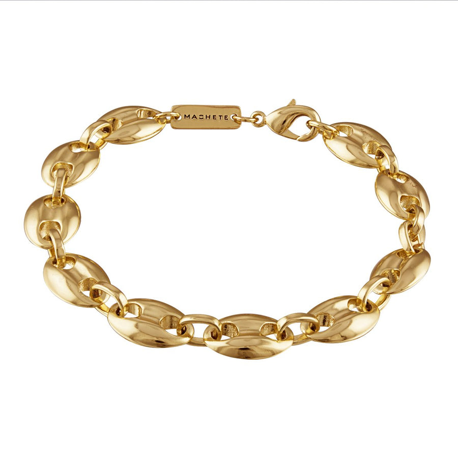 Large Coffee Bead Bracelet in 14k Gold