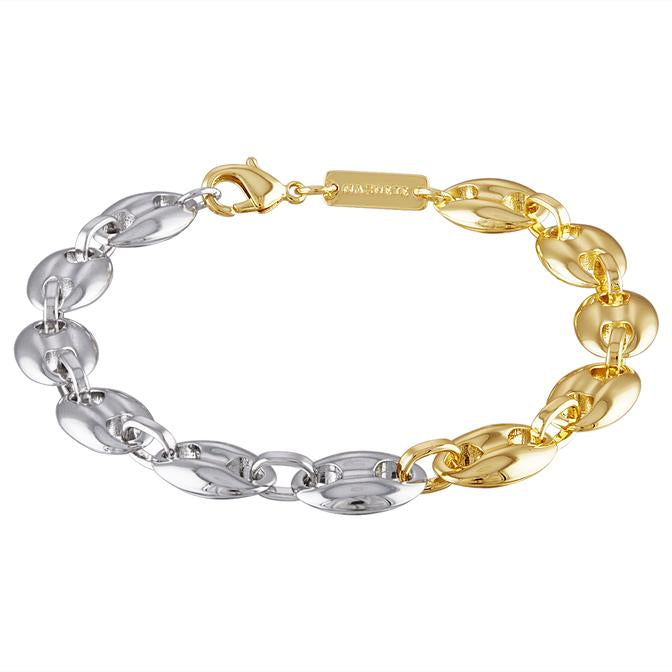 Large Coffee Bead Bracelet in 14k Gold + Sterling Silver
