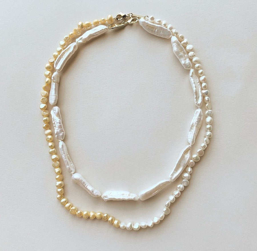 Mixed Freshwater Pearl Necklace White + Yellow