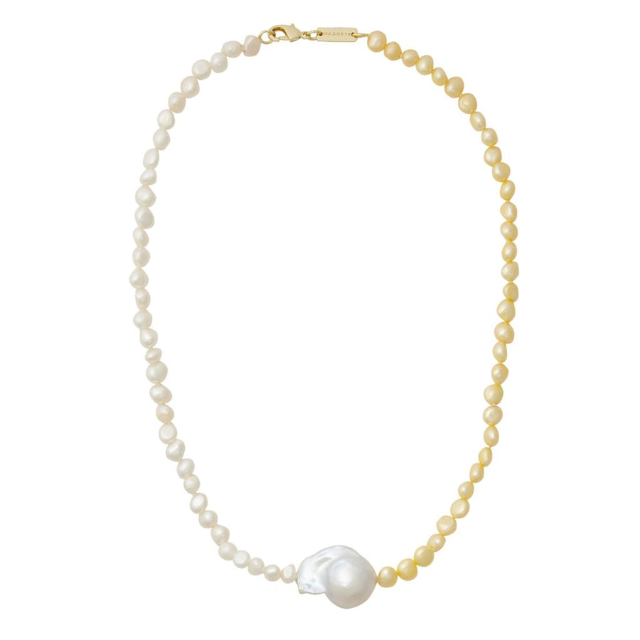Mixed Freshwater Pearl Necklace with Baroque Pearl in Yellow + White