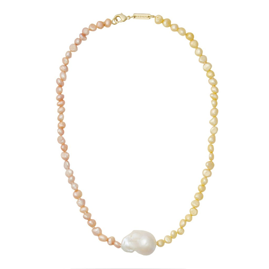 Mixed Freshwater Pearl with Baroque Pearl in Yellow + Pink