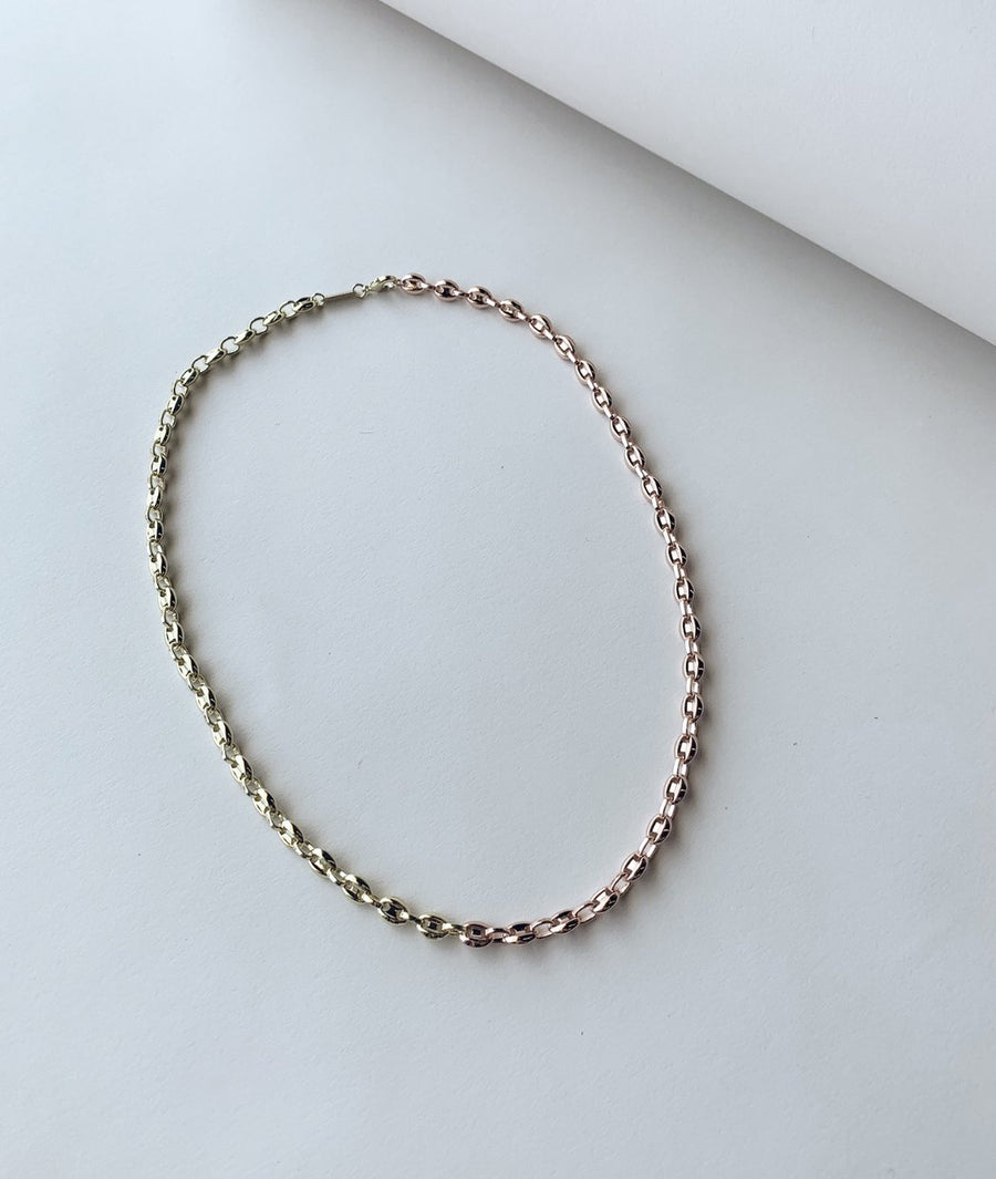 Petite Coffee Bead Necklace in Gold + Rose Gold Split