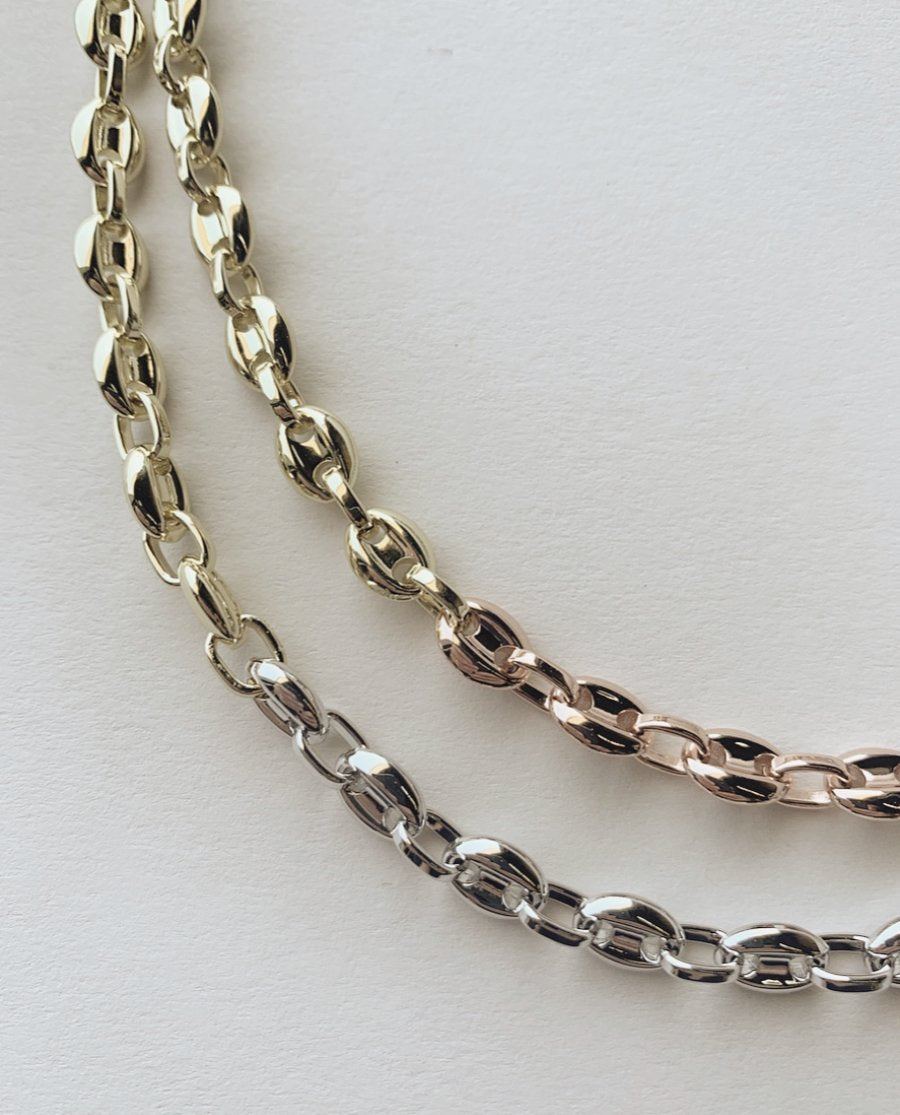 Petite Coffee Bead Necklace in Gold + Silver