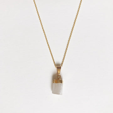 White Selenite Necklace in Gold