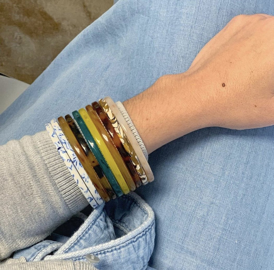 Square Bangle Set in Butter + Yellow