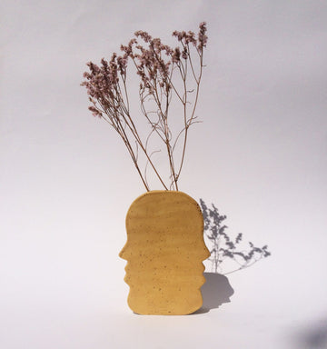 Ikebana Vase Face to Face Stoneware Yellow Speckled