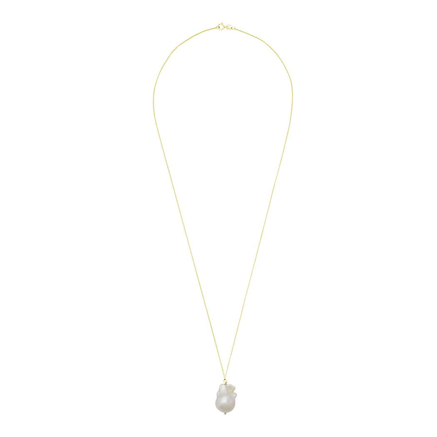 White Baroque Pearl Necklace on 14k Gold Chain