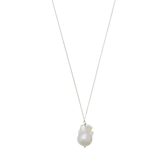 White Baroque Pearl Necklace on Silver Chain