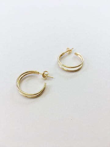 Double Round Hoops in Gold