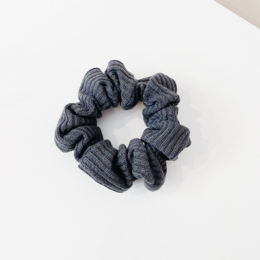 Grey Rib Cotton Scrunchie
