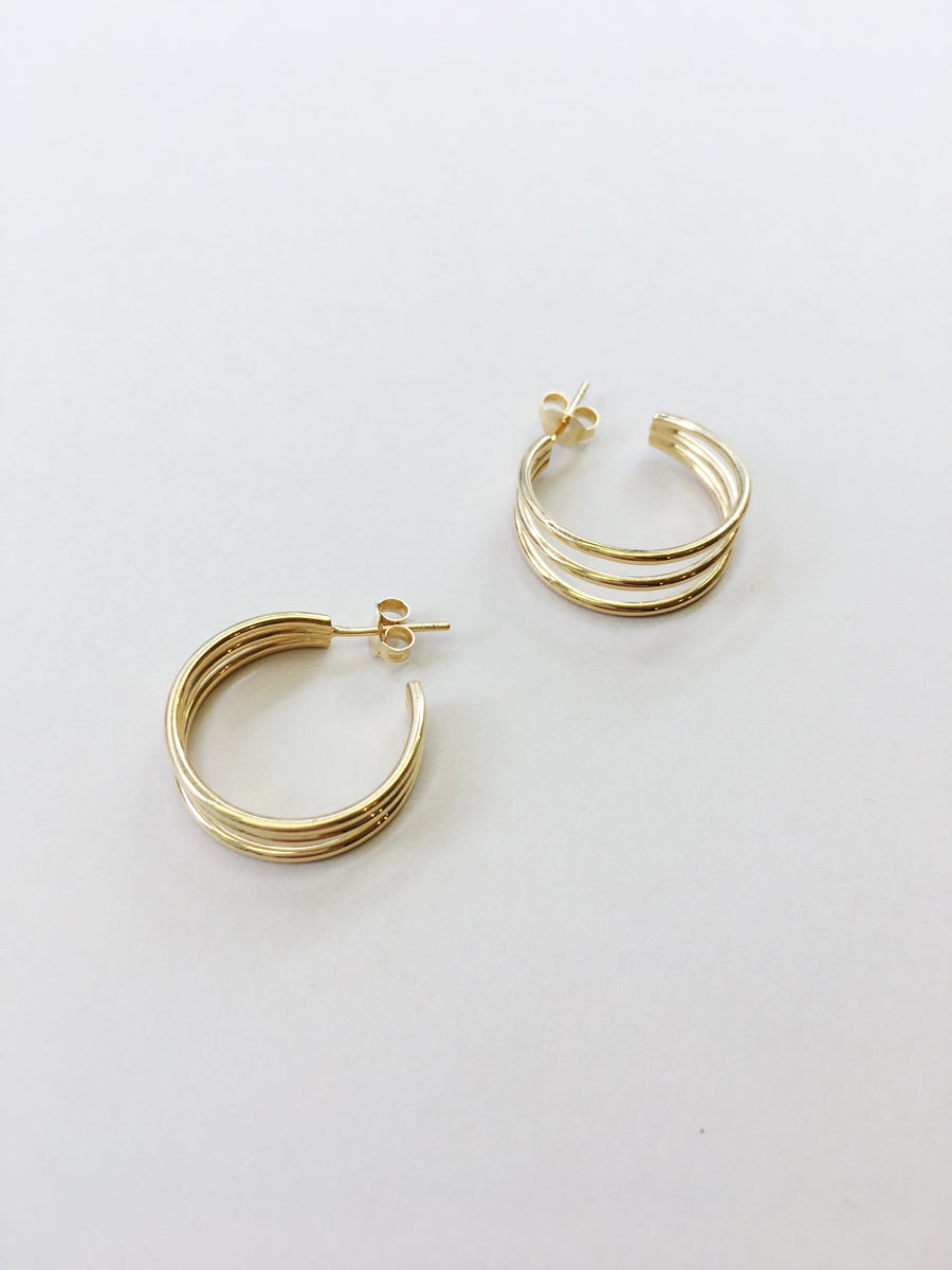 Trible Round Hoops in Gold