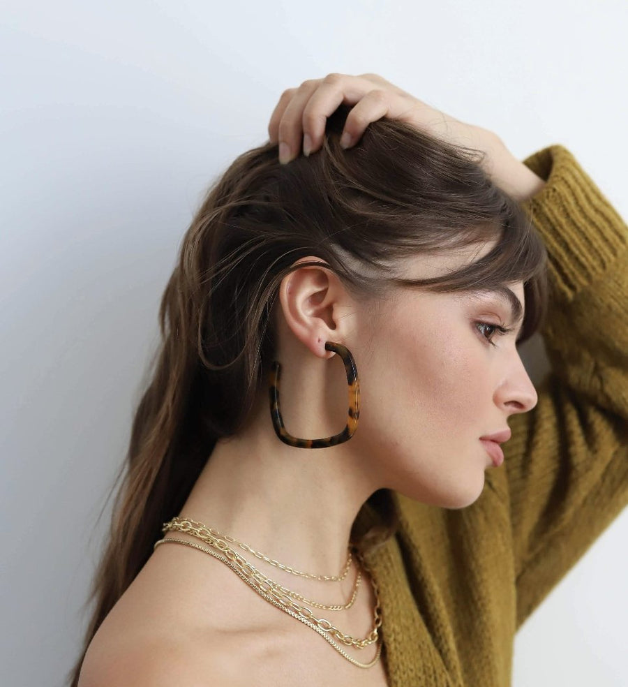 Large Square Hoops in Honey