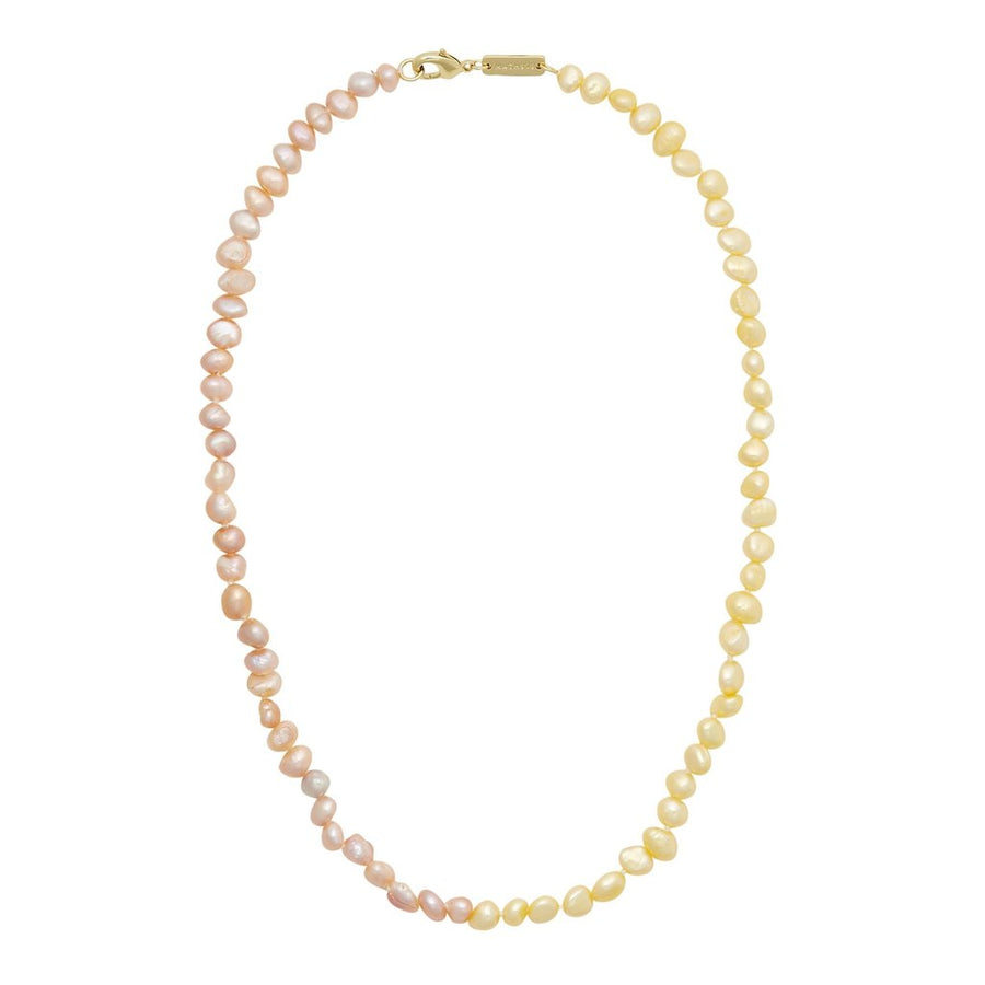 Mixed Freshwater Pearl Necklace in Yellow + Pink