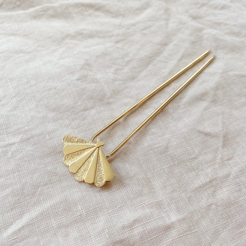 Santiago Shell Hairpin in Gold