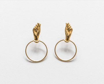 Hand Earrings Small in Gold