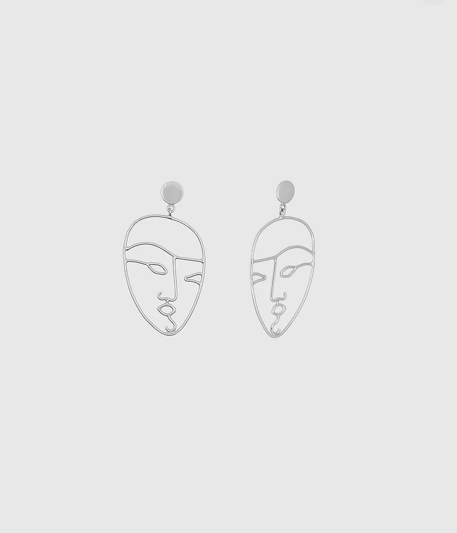 The Face Earrings in Silver