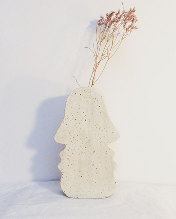 Ikebana Vase Face to Face Stoneware White Speckled