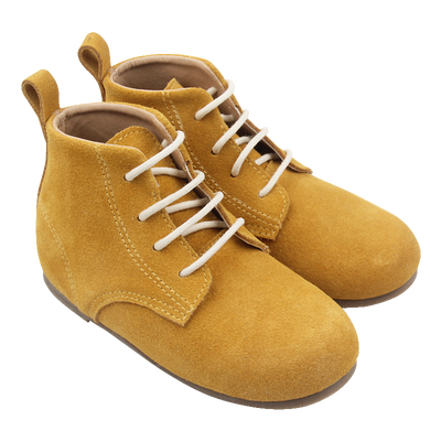 Mustard Suede Lace Up Boots
