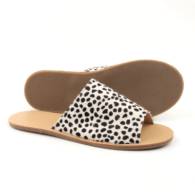 Black & White Leopard Mo-Hair Mummy Slide's