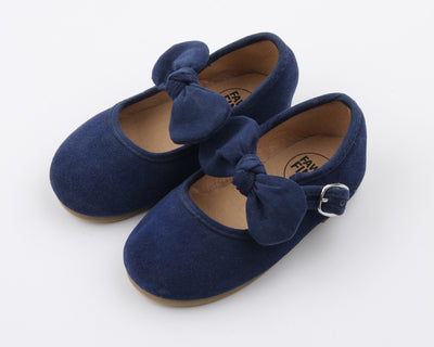 Navy Suede Bow MJ's