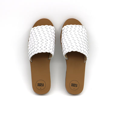 White Leather Willow Weave Ladies Slide's