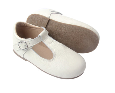 Lenox White T-Bar Moccasins