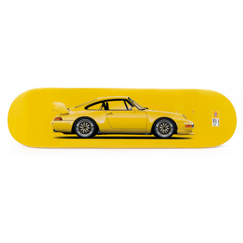 Porsche 993 RS Clubsport Skateboard Art Deck - Speed Yellow