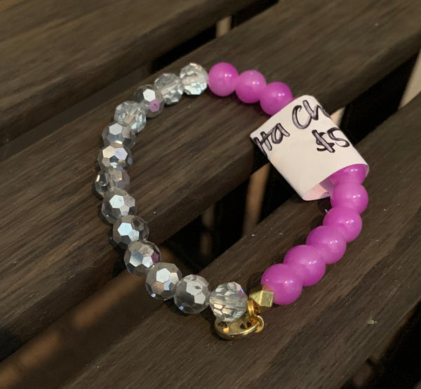 Purple Clear Beaded Bracelet