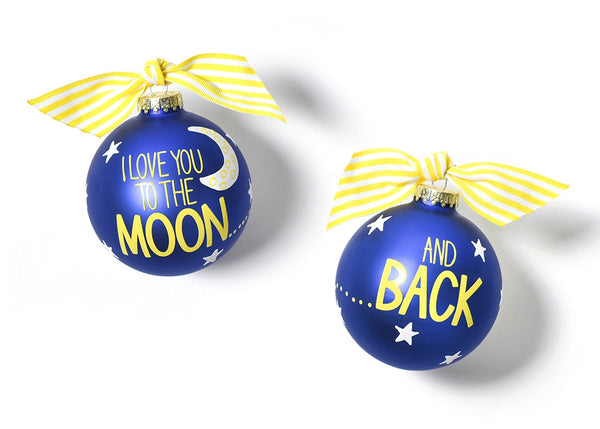 I Love You To The Moon And Back Glass Ornament