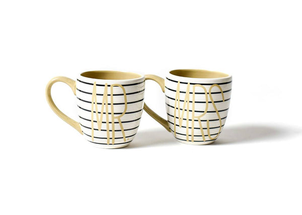 Mr. & Mrs. Mug Black Stripe Set Of 2