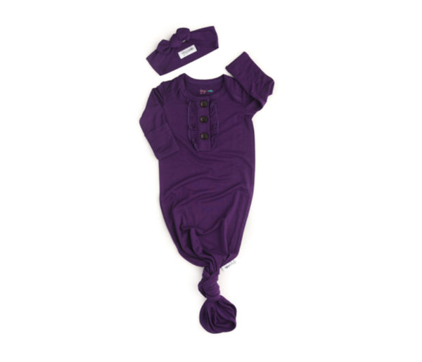 Gigi and Max Knotted Button Newborn Gown- Plum Purple