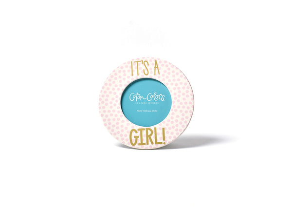 Small Dot Round Frame - It's A Girl!