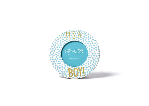 Small Dot Round Frame - It's A Boy!