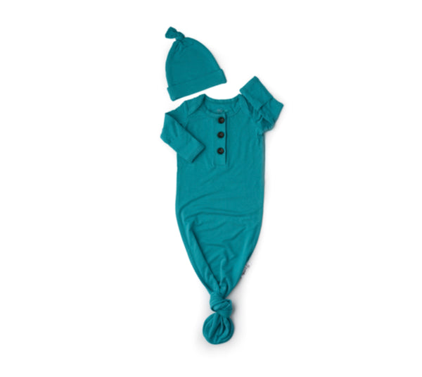 Gigi and Max Knotted Button Newborn Gown- Teal
