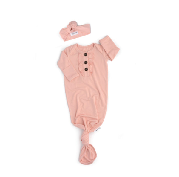 Gigi and Max Knotted Button Newborn Gown- Light Pink