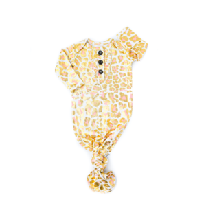 Gigi and Max Knotted Button Newborn Gown- Sadie Leopard