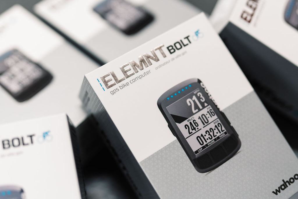 Product boxes containing bicycle computers, branded 'ELEMNT'