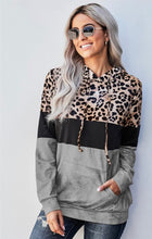 Load image into Gallery viewer, Leopard Tie Dye Colorblock Hoodie