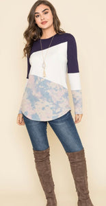 Tie Dye Three Color Block Tunic