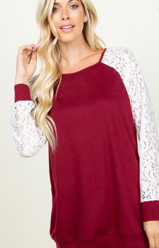 Solid & Lace Top in Burgundy