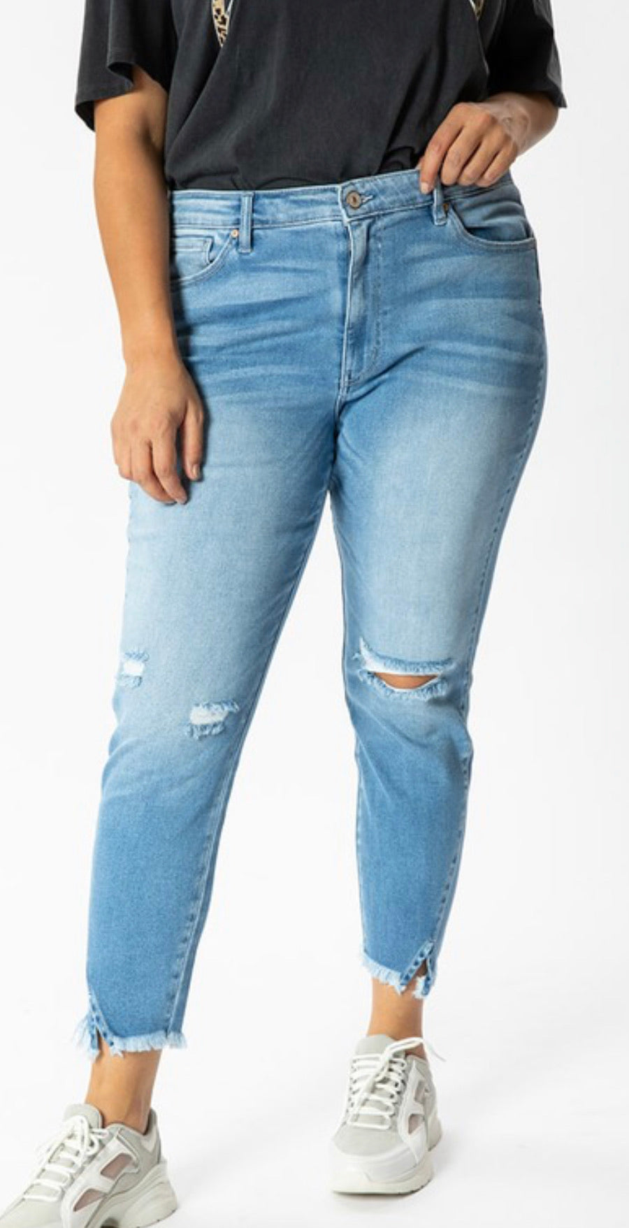 Kan Can Plus Size Ankle Distressed Skinny Jean