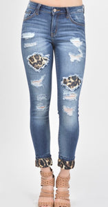 Kan Can Mid Rise Leopard Patch Ankle Skinny