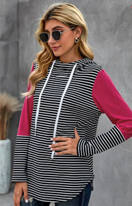 Red Sleeve Splicing Striped Hoodie