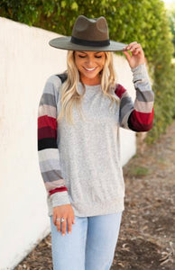 Red/Black Striped Sleeve Knit Sweater