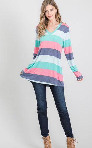 Long Sleeve V-Neck Multi-Color Block