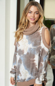 Cold Shoulder Tie Dye Knit Sweater